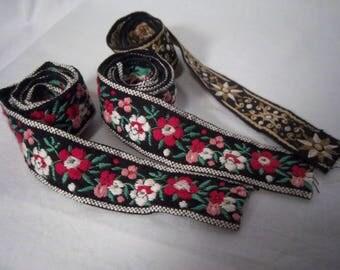 Vintage Woven Braid Trim 1 inch x 3 pieces