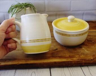 Franciscan Earthenware, Hacienda Gold, Creamer & Covered Sugar Bowl Set,1960's,Made in USA, Ceramic,California Pottery,Retro,Franciscan Ware