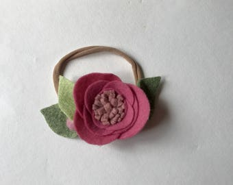 ROSE// single flower headband// felt flower