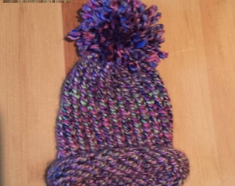 Tuque for knitted newborn pink and purple