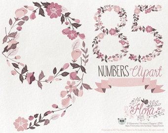 Flowers Clipart 70% OFF! - Numbers Clipart Flora 10 Flowers Floral Vector Graphics PNG Rose Tones
