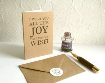 Joy Quote Notebook as Greeting Card - Shakespeare Quotation, Choice of Pages | Literary Gift for Writer, Penpal or Long Letter Journal |