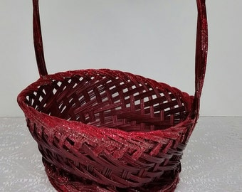 Cranberry Glittery Basket, Floral Container, Kitchen, Bed, Bath and Makeup, Desk and Storage, Guest Basket, Coffee Pods Basket,