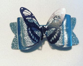 Butterfly hair bow clip accessory silver glitter