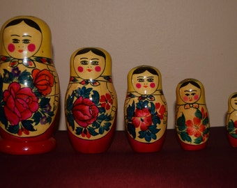 Russian Rose Wooden Nesting Dolls
