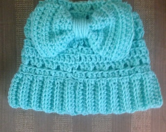 Crochet Pattern for Ponytail Hat with Bow in Back