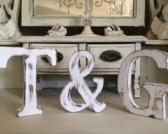 Large Vintage Shabby Chic Freestanding wooden Letters A-Z & Initials Names Make  your own