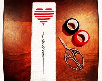 """Hand Embroidered """"Amore"""" Bookmark"""