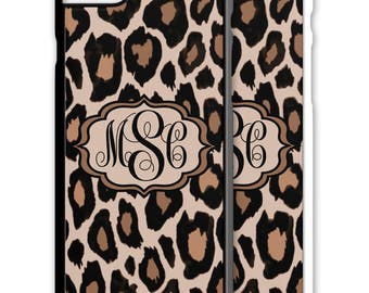 Leopard Print Monogrammed Iphone Case 5 6 7 Galaxy S4 S5 S6 S7 Cover Personalized 5S SE Plus Custom Cheetah