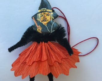 """Vintage Halloween WITCH 4"""" Paper Chenille Doll Crepe Paper Dress 1930's K & L DIECUT Scary Black CAT Chenille Arms Legs Ornament"""
