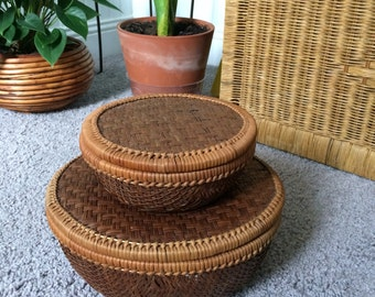 Set of Nesting Basket Bowls with Lids