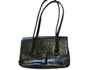 Vintage L. Credi leather purse black bag handbag Made in Italy