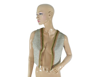 Handmade vest - made of linen with original decoration lace