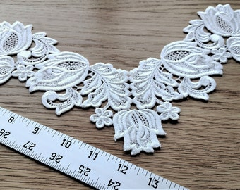White venice lace floral yolk/collar rayon/polyester applique/trim