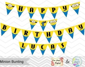 Printable Minion Banner, Minion Birthday Party Banner, Instant Download Minion Bunting, Minion Birthday Party Banner Bunting 0006