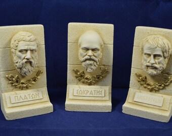 Socrates Plato Aristotle sculpture set ancient Greek philosophers