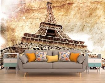 Superb Eiffel Tower Mural   Etsy Part 28