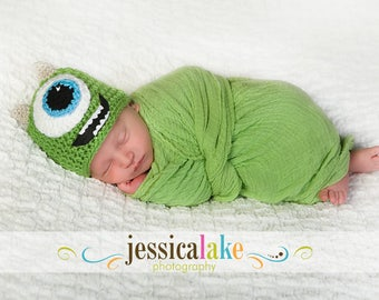 Newborn, Baby, Monster Hat, Mike Wazowski, Photographer props, Custom Made to Order