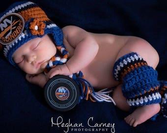 Newborn Baby Hockey Skates, Earflaps Hat, Islanders inspired, Made to Order