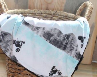 Motocross Blanket-Moto Blanket-Motocross Nursery-Motocross Lovey-Motorcycle Blanket-Baby Blanket-Motocross Baby Gift-Motocross Gifts