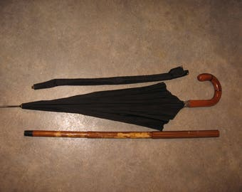 RARE Vintage HUGENDUBEL cane umbrella combo walking stick wooden handle
