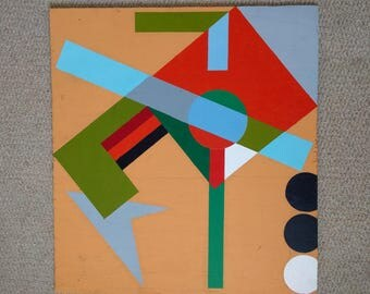 Abstract geometric painting. Painted onto wooden board