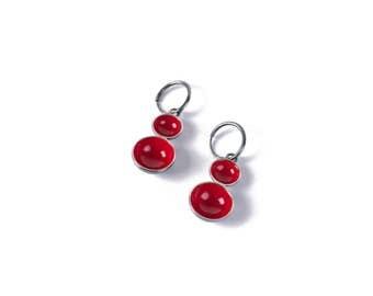 Oxidized silver earrings - CITY LIGHTS Rasberry Red