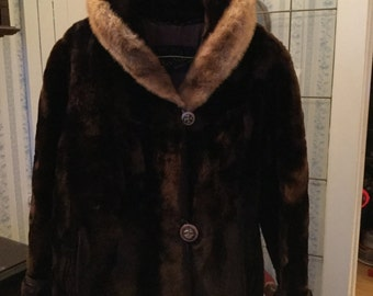 SUMMER SALE! Plush vintage women's cropped brown mouton coat with mink collar (A149)