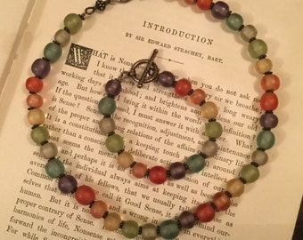 SALE! Colourful vintage glass necklace and bracelet in rainbow colours (A117)
