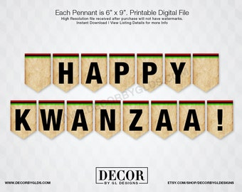Kwanzaa Pennant Banner Sign, Kwanzaa Decorations. Printable Red, Black & Green Happy Kwanzaa Sign, Chevron Pennant Banner, Holiday Signs