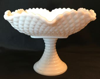 Scalloped Ruffled Square Diamond Pattern Milk Glass Dish with Ribbed Pedestal
