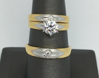 925 Two-Tone Sterling Silver Trio-Ring Set