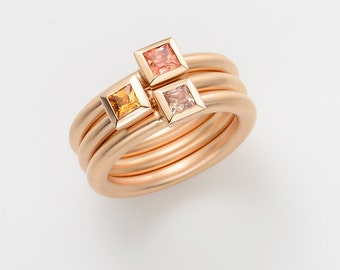 Cocktail ring CITRINE 18kt pink gold, engagement, stacking ring, princess cut, wedding ring