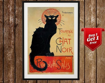 Le Chat Noir -  French Poster, Tournee Du Chat Noir, Black Cat, Vintage French, Chat Noir Poster, French Black Cat Poster, Vintage Poster