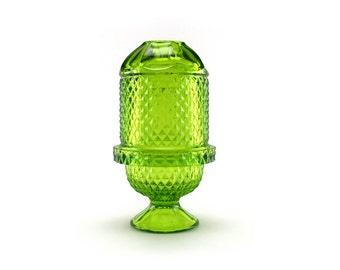 Viking Glass # 6700 - Avocado Green Glimmer Diamond Point Fairy Lamp Candle