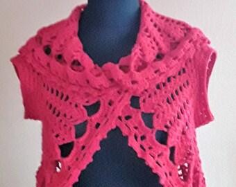 Red Knit Wool Vest,Женская шерстяная красная безрукавка,Knit Wool Vest,Vest,Crochet vest,Boho Vest,Hippie sleeveless shirt