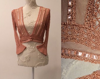 SALE!!! REGULAR PRICE 55Eur!!! 1970s Vintage Fine Exquisite & Exclusive Jacket,Pink Crocheted Blouse, LaceTop