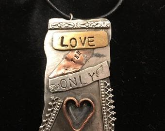 Silver, copper, brass, tri-colored love pendant