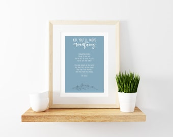 Dr Seuss 'Oh, The Places You'll Go' Print - Blue