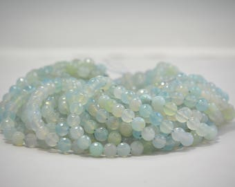 10 mm faceted blue mix translucent agate gemstone