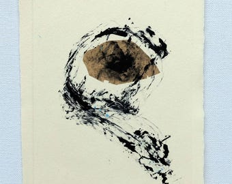 Monotype, printmaking, wall decoration, gift, Original etching, Chine Collé