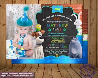 Secret Life of Pets Invitation.Birthday Invitations.Photo Invitation.Secret Life of Pets Party.Double Sided Invitation.Pets Party Invitation