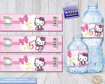 Hello Kitty Water Bottle Labels.Hello Kitty.Bottle Wrappers.Bottle Labels.DIY.Hello Kitty Party.Personalized Labels.Girls Birthday.