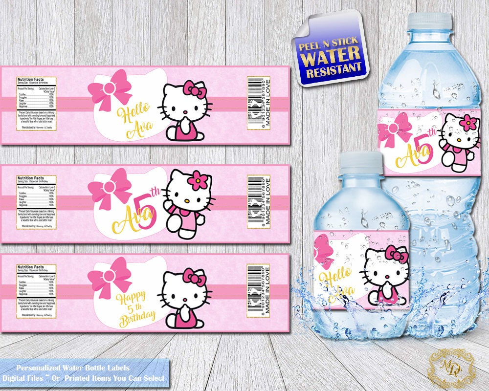 Design your own hello kitty t-shirt - Hello Kitty Water Bottle Labels Hello Kitty Bottle Wrappers Bottle Labels Diy Hello Kitty Party Personalized Labels Girls Birthday
