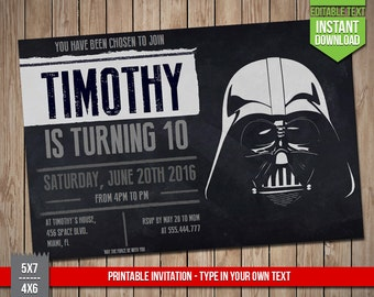 STAR WARS Invitation - Disney Star Wars Darth Vader Invite, Editable Text PDF Birthday Party Invitation, Instant Download