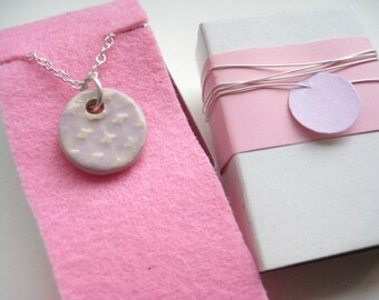 Necklace ceramic Silver 925 pink / cream around 7