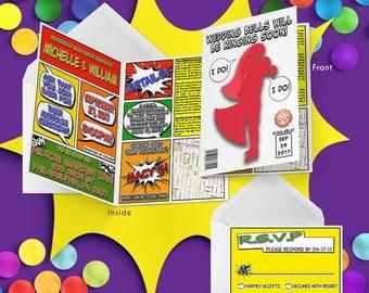Comic Book Wedding Invitations - Geeky Wedding Invitation Suite - Nerdy Wedding Invitations - Printable Folded Wedding Invitations