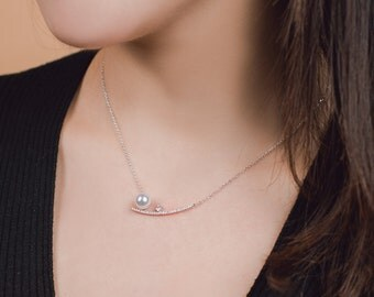 CZ curve bar necklace with pearl