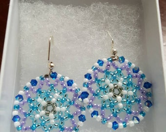 Beautiful Handmade Beaded Earrings. Blue, white and purple.  Great for everyday use, holiday jewelry or any special occasion!!