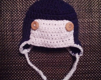 Crochet aviator hat. Button hat. Earflap hat.